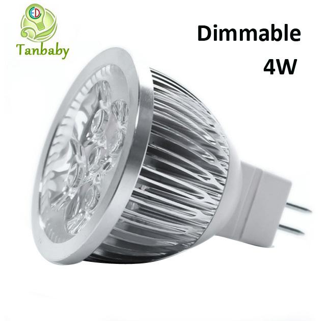 1 Dimmable led light MR16 DC12V spotlight 4W white warm high power spot lamp energy saving