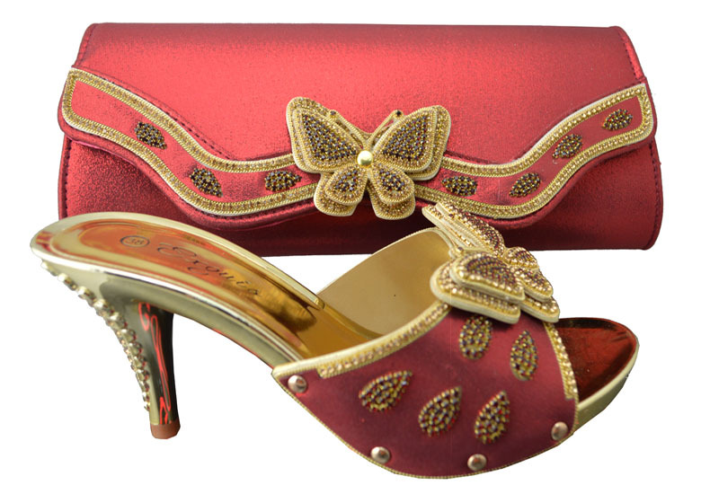 Beautiful butterfly design Italy shoes and bags to match in red color wholesale and retail size