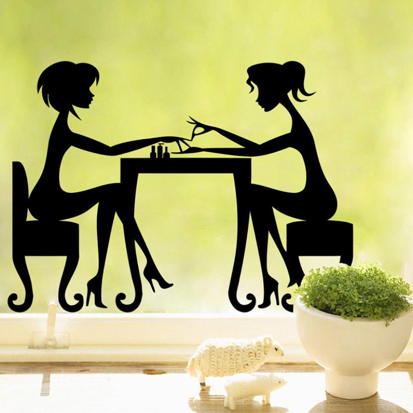 Hot Sale 2016 wall stickers Girl Nails Vinyl Decal Fancy Art Home Decor Wall Stickers Living Home Decor XT(China (Mainland))