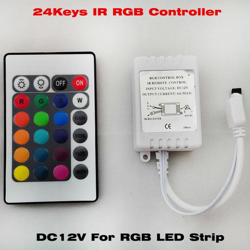 Free shipping 1PC DC12V 24 Keys IR Remote RGB Controller for SMD3528/5050/5730/5630/3014 RGB LED Strip lights Mini Controller(China (Mainland))