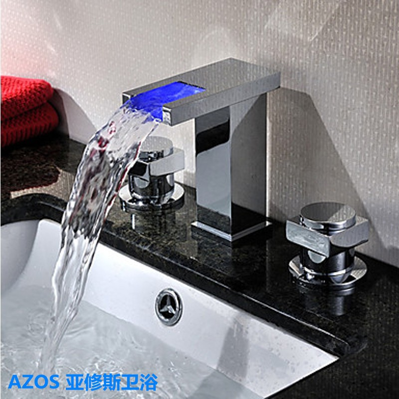 AZOS Color Change LED Lamp Chrome Waterfall Spray Sink Faucets Water Mixer Toilet Tank Tap Bathroom Basin Faucet - Roy Huang store