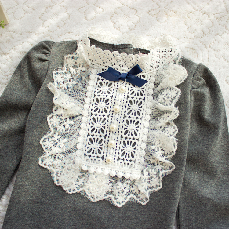 2017 Spring Longsleeve Cotton T-shirts For Girls Tops Baby Kids Clothes With Lace And Bowknot Korean Style Children Girl Tees