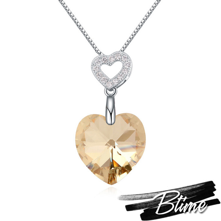 New Hot Romantic Genuine 925 Sterling Silver SWAROVSKI ELEMENTS Crystal Love Heart Necklaces & Pendants Women Statement Jewelry(China (Mainland))
