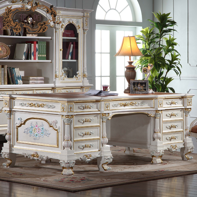 Luxury office furniture baroque hand carving royalty study for Cheap home furniture uk