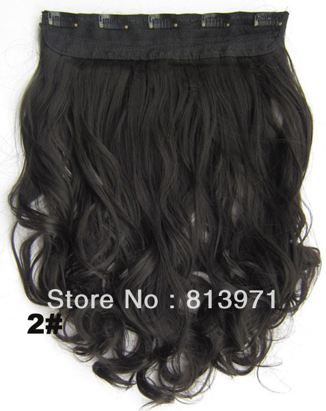 Hair Factory Sale Women's Heat Resistant Synthetic Hair Clip in on Hair Extensions Wavy Curly Hair #2 Natural Black Free Ship(China (Mainland))