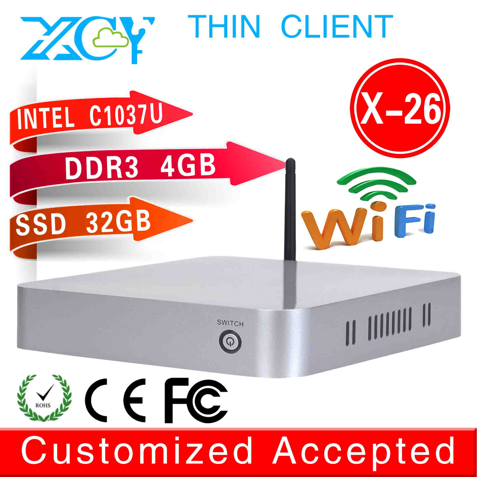 2015 lowest price mini computer x-26 1037u network thin client 4g ram 32g ssd build-in-wifi win8 hotel used mini pc 2D gaming pc(China (Mainland))