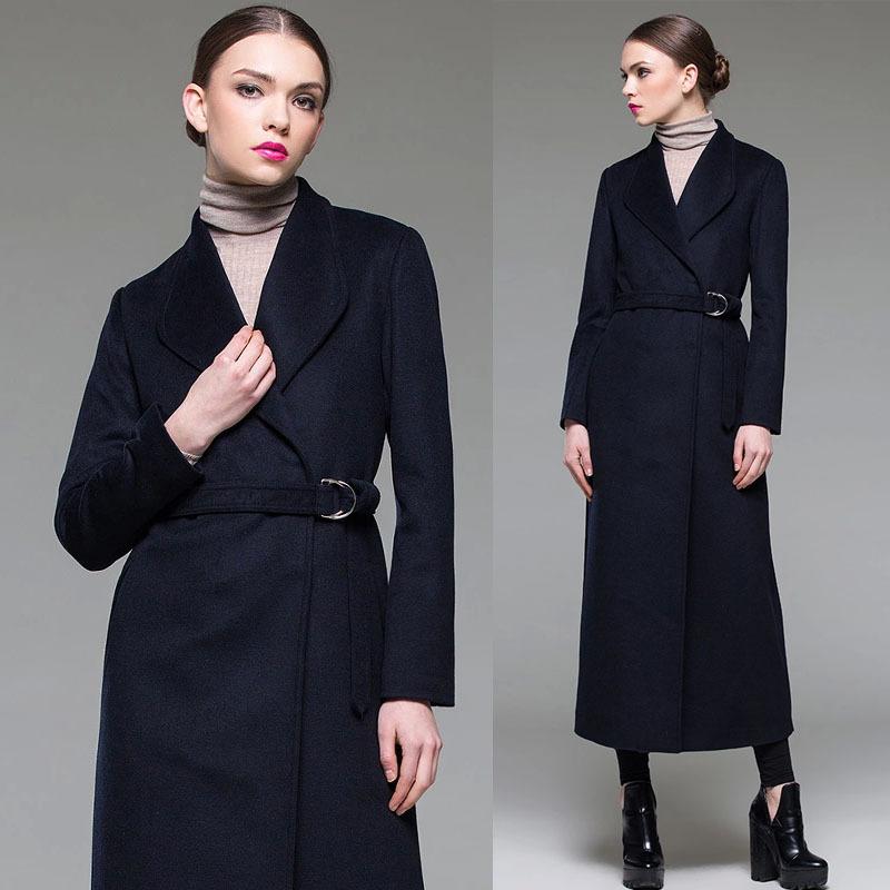 Fall Winter Womens European Style Fashion Elegant Slim Belt Woolen X Long Coat , Female Woman Turn Collar Wool Coats  -  Jeanie Deng's store store