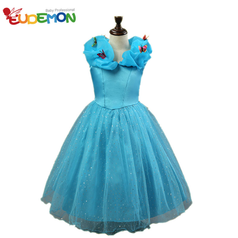 [Eudemon] girls summer dresses 2016 girls clothes Blue Color Butterfly children dress Mesh Material robe enfant fille mariage(China (Mainland))