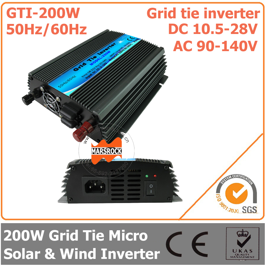 200W 18V Grid Tie Micro Inverter, 10.5-28V DC to AC 90-140V Pure Sine Wave Inverter for Small Solar or Wind Power System(China (Mainland))