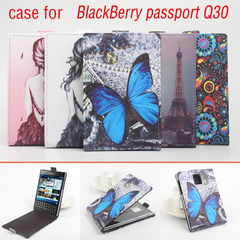 Hot Sale Colored Drawing Leather Case for Blackberry Passport Q30 Open Up and Down(China (Mainland))
