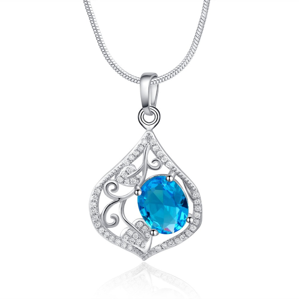 2015Fashion Jewelry 925 silver chains necklace pendant Sapphire Crystal Elements Pendant E-Sunny D0718