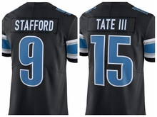Best Quality Wholesale #9 Matthew Stafford 15 Golden Tate III Black Color Rush Jersey Free Shipping(China (Mainland))