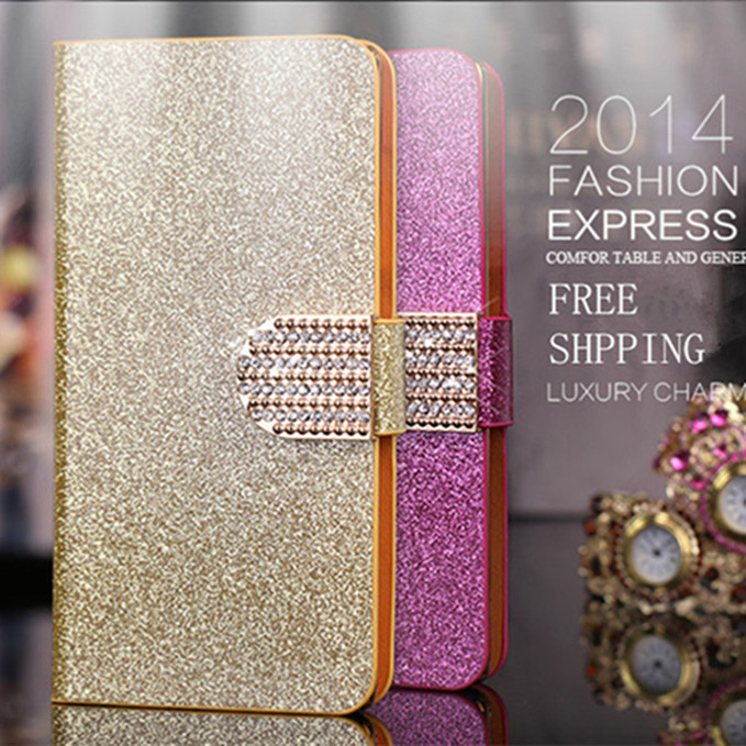 Luxury Glitter Diamond PU Wallet Leather Case For Huawei Ascend D2 Cover For Huawei Ascend D2 Flip Buckle Stand Card Holder(China (Mainland))