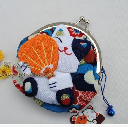 Hot Sale**32pcs`Japan!!Lucky Cat Coin Purse/Wallet/Coin Bag/Purse+(Silk)(China (Mainland))