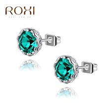 ROXI 18K White Gold Plated Luxury Mystic Topaz  Carat Cubic Zirconia Stud Earrings For Women Wedding Jewelry(China (Mainland))