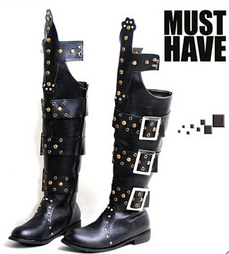 Punk rock boots locomotive fashion stage rivet knee-high man riding cowboy personality Hip-hop dance knight - Holran Shoe Bags Store store