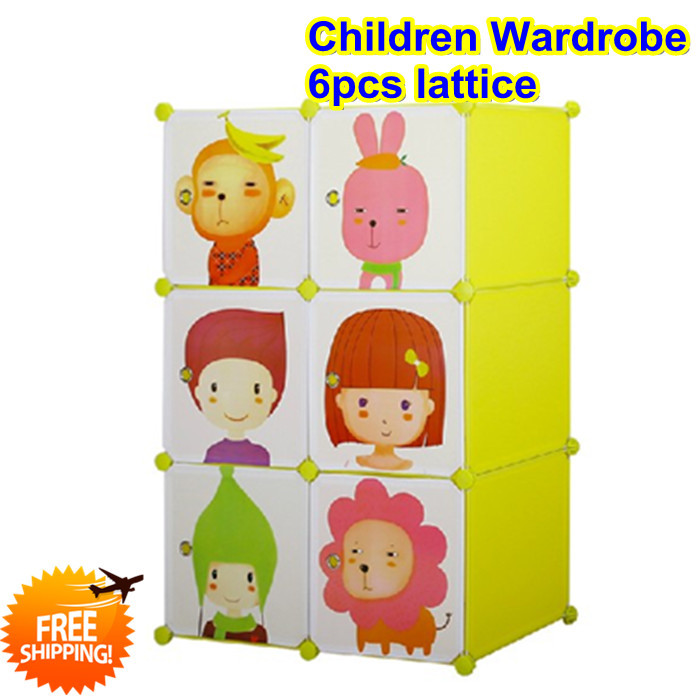 DIY carton cabinet for toys, simple baby wardrobe child kids clothes storage, folding plastic children's furniture(China (Mainland))