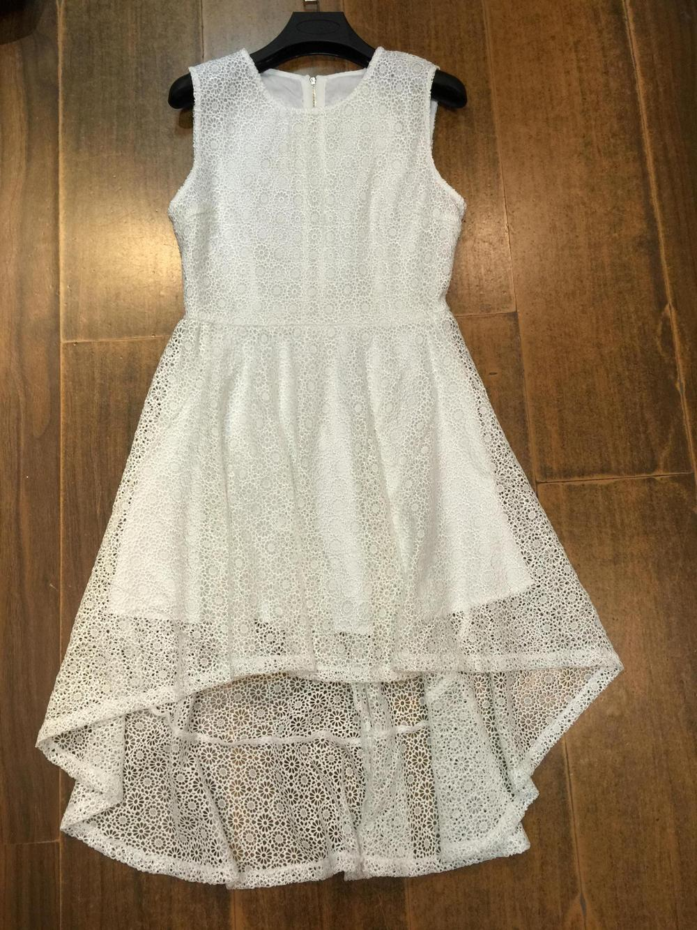2015SS Women White New soluble Lace Daisy flowers Hollow out irregular dovetail High waist sleeveless dress with lining Back ZipОдежда и ак�е��уары<br><br><br>Aliexpress