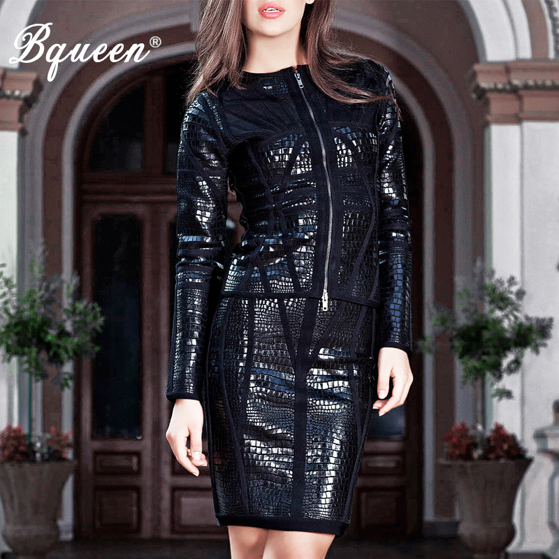 Bqueen 2017 New Arrival Black PU Long Sleeve Zipper 2 Piece Sets Suits Bandage Dress Leather Autumn Winter Dresses(China (Mainland))