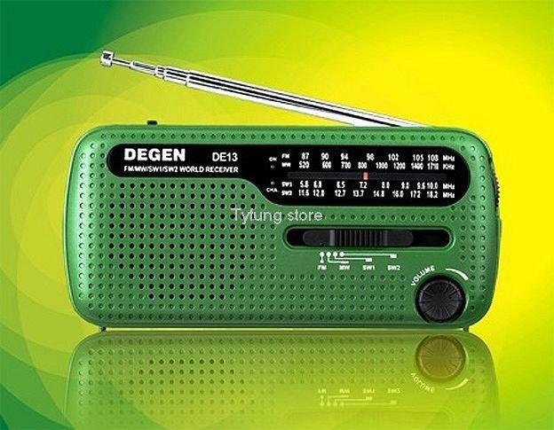 B02A Degen DE13 FM AM SW Crank Solar Radio Receiver