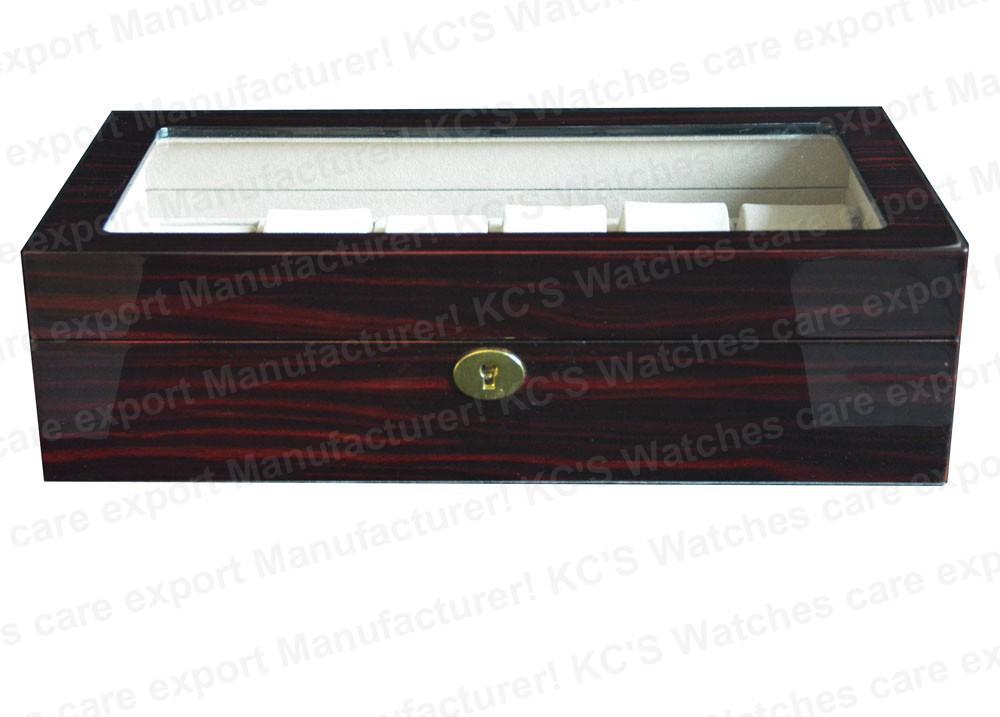 Высокая - конец бордовый-красный Grossy отделка 12 деревянные часы чехол для известного часы прозрачная крышка GC02-LG3-12EX