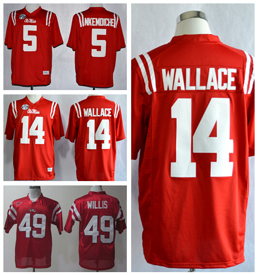 Ole Miss Rebles College Jerseys Football 5 Reobet Nkemdiche 14 Bo Wallace Jersey Home Red 49 Patrick Willis Fashion High Quality(China (Mainland))