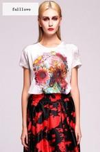 New 2015 Summer t shirt for Women Fashion Short Sleeve O-neck Flower Print Casual T-shirt Tops M-XXL 30