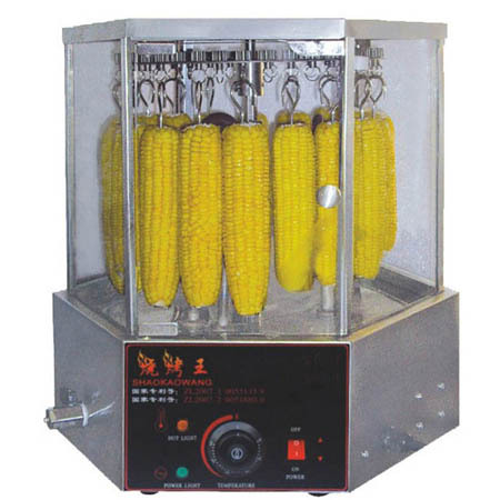16 unids/tiempo Eléctrica Tostador de Maíz Base de Acero Inoxidable con 6 Puertas de Cristal, Rotary Corn asador/tostador(Hong Kong)