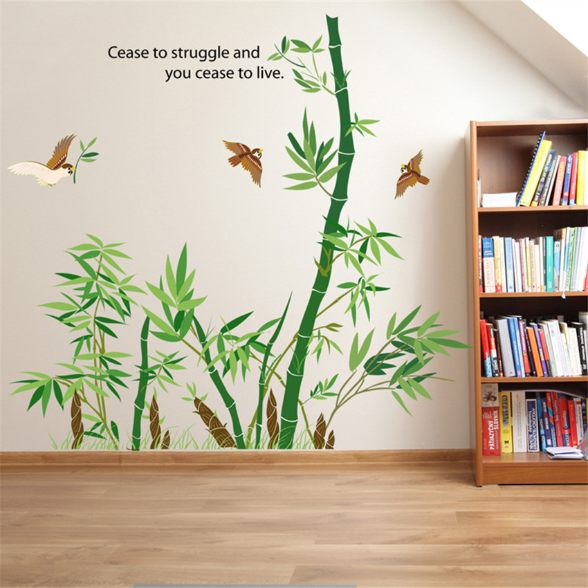 Diy chinese style bamboo wall sticker for room removable for Stickers decorativos