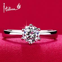 Clássico de Seis Garra 1 Carat 6mm CZ Anéis de Casamento Do diamante para as mulheres de Jóias de prata Banhado A anéis de Noivado feminino Anel Bijoux marca