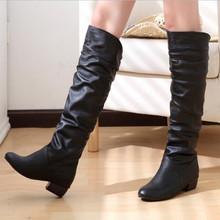 Nuevo Estilo de Otoño e invierno de las mujeres botas de Alto de la pierna de la motocicleta botas de nieve negro Blanco Marrón 3 color zapatos de deslizamiento en caliente botas de caballero(China (Mainland))
