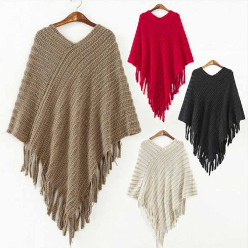 2015 Winter Fashion Womens Ladies Pullovers Cloak New Knitted Warm Poncho Cape Wrap Shawl Jumper Sweater Jacket(China (Mainland))