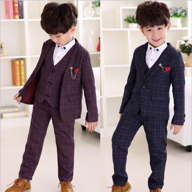 Children Clothes Boys Set Plaid Coat+Vest +Long Pants Suits For Wedding Toddler Kids Tuxedo Suit For3-8T Spring And Autumn<br><br>Aliexpress