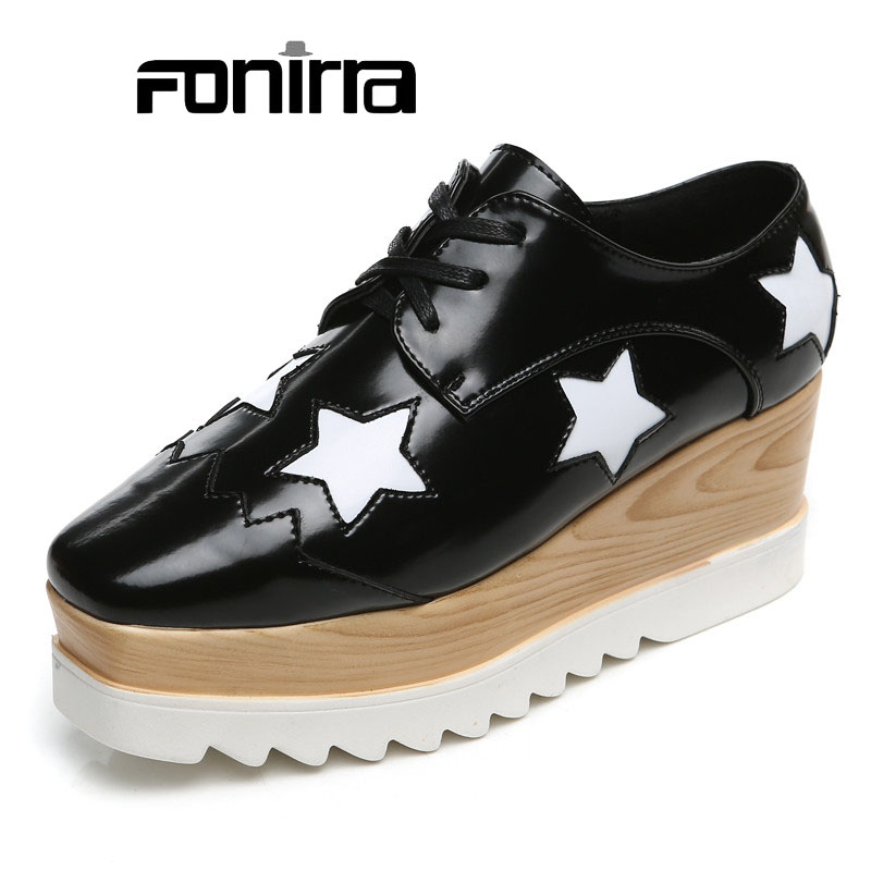 Women Casual Shoes 2016 Fashion Leather High Heels Platforms Girls Wedges Oxford Woman 012 - Nimbi store