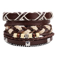 Buy Brown Braided Multilayer Bead Women Vintage Combination Handmade Woven Punk Leather Bracelet Men Jewelry Wholesale Accessories for $1.69 in AliExpress store
