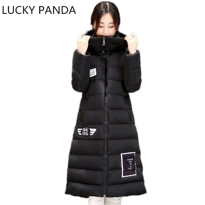 Lucky Panda 2016 Women Winter Down Cotton Jacket Long Women Coat Thick Female Warm Clothes Parka fur Hairball High Quality Coats(China (Mainland))