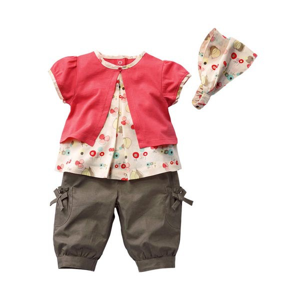 Cute Kids Baby Girls Fruits Pattern Top Pants Hat Set Outfits Clothes - Showing For Yourself store