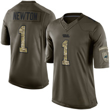 Men's #1 Cam Newton Elite Green Salute to Service Football Jersey %100 Stitched(China (Mainland))