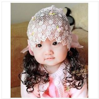 2014 Real Headband Order $10,can Mix Order) Children Baby with Hollow Out Lace Hairnet Girls Long Wigs Hair Two Color Optional