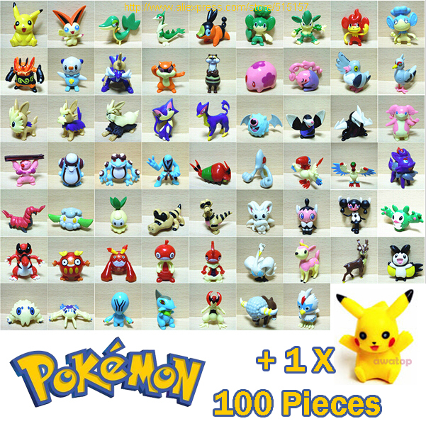 (100 pieces/set) Pokemon action figures toys all different random style + 1 Pikachu 3-5cm Brand New(China (Mainland))