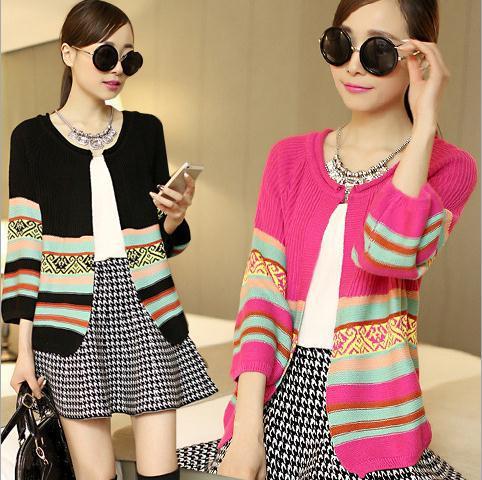 Han edition Summer dress knit cardigan Restore ancient ways small shawl Color matching lantern sleeve W1630(China (Mainland))