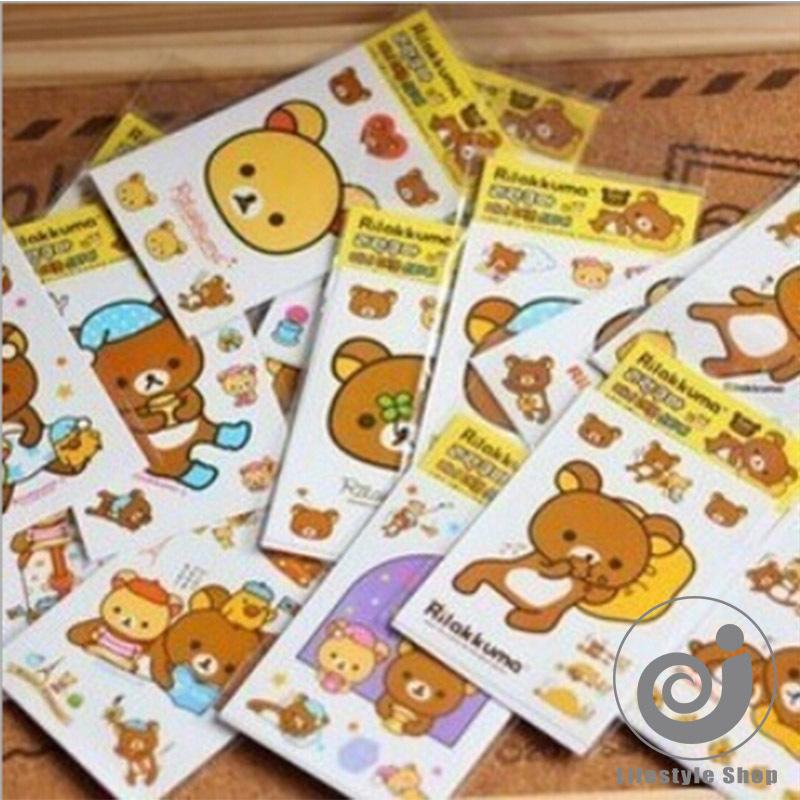 5 Pieces / Lot Cute Rilakkuma Paper Sticker PVC Decoration Sticker For Album Phone Scrapbooking Korean Stationery(China (Mainland))