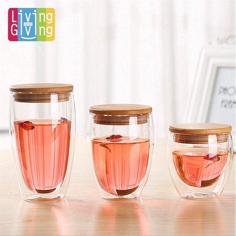High Quality 240ml/360ml/ 450ml Can Choice Wholesale Europe Double Wall Glass Coffee Cup Mug Tea Cup Glassware gift(China (Mainland))