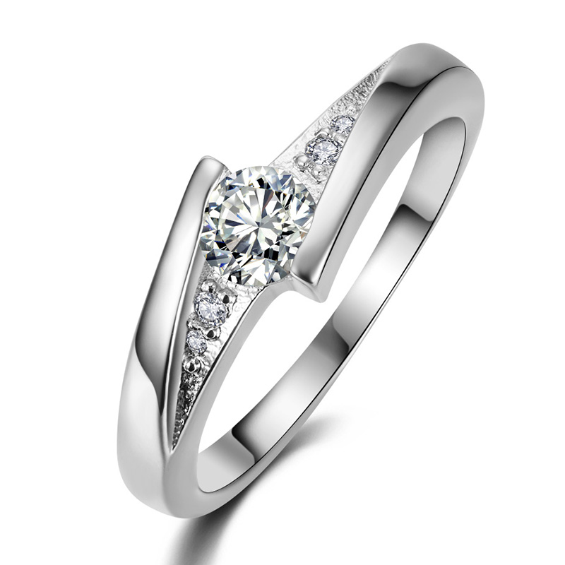 free shipping silver plated finger rings for women Wedding engagement Rings CZ diamond jewelry bague bijoux Accessories MY005(China (Mainland))