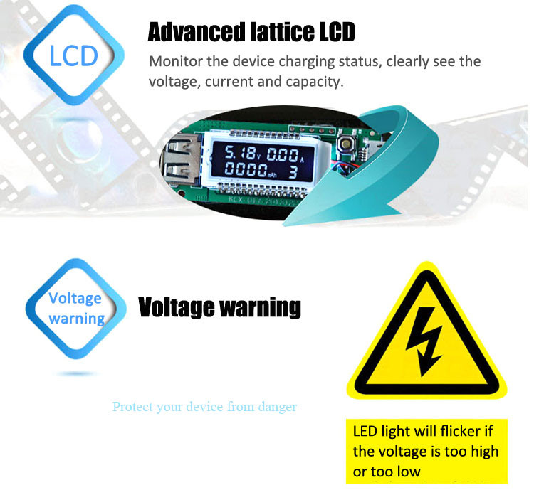 Hot sale LCD Current Voltage Detector Battery Capacity Tester Cable for Mobile Phones Laptops Dec4
