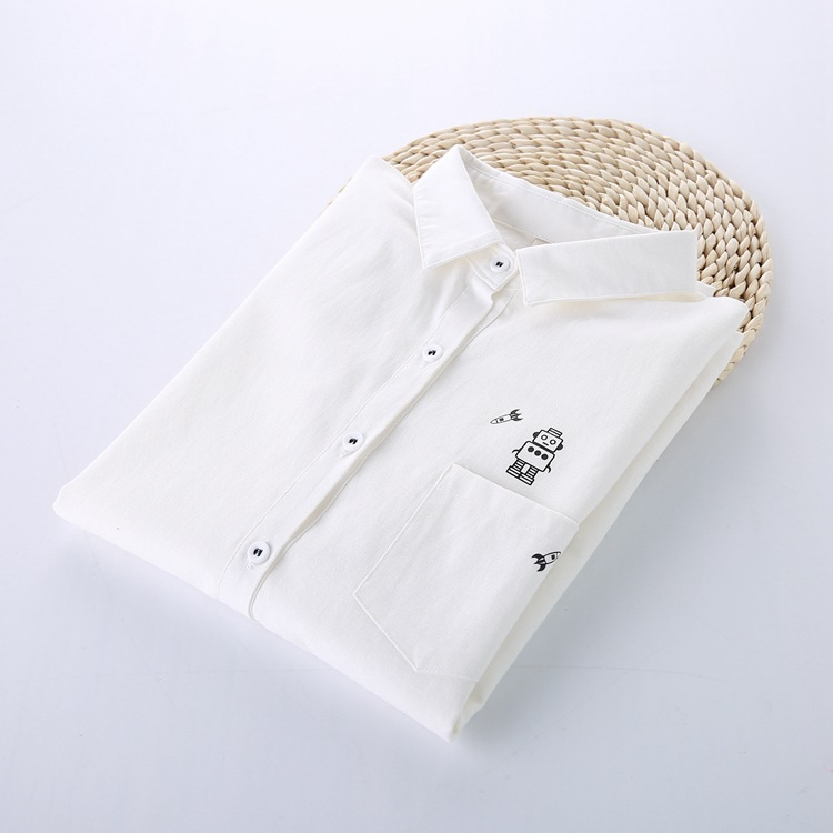 G013 women sping and Autumn vintage solid cotton blouse long sleeve Cute Character Print White Shirts casual Tops Blusas(China (Mainland))
