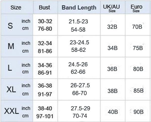 Сексуальный бюстгальтер с эффектом пуш ап радужной смолы серьги гвоздики Overbust Bra-size-charts-2xl