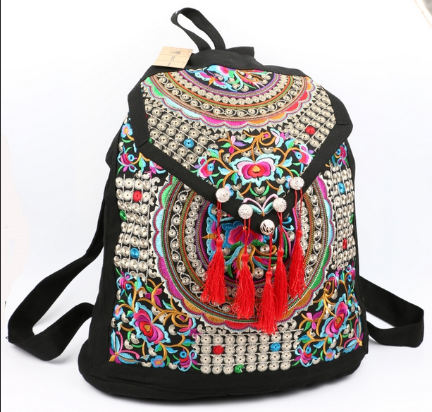 2016 women national trend canvas backpacks embroidery ethnic backpack women handmade flower embroidered travel bags schoolbags<br><br>Aliexpress