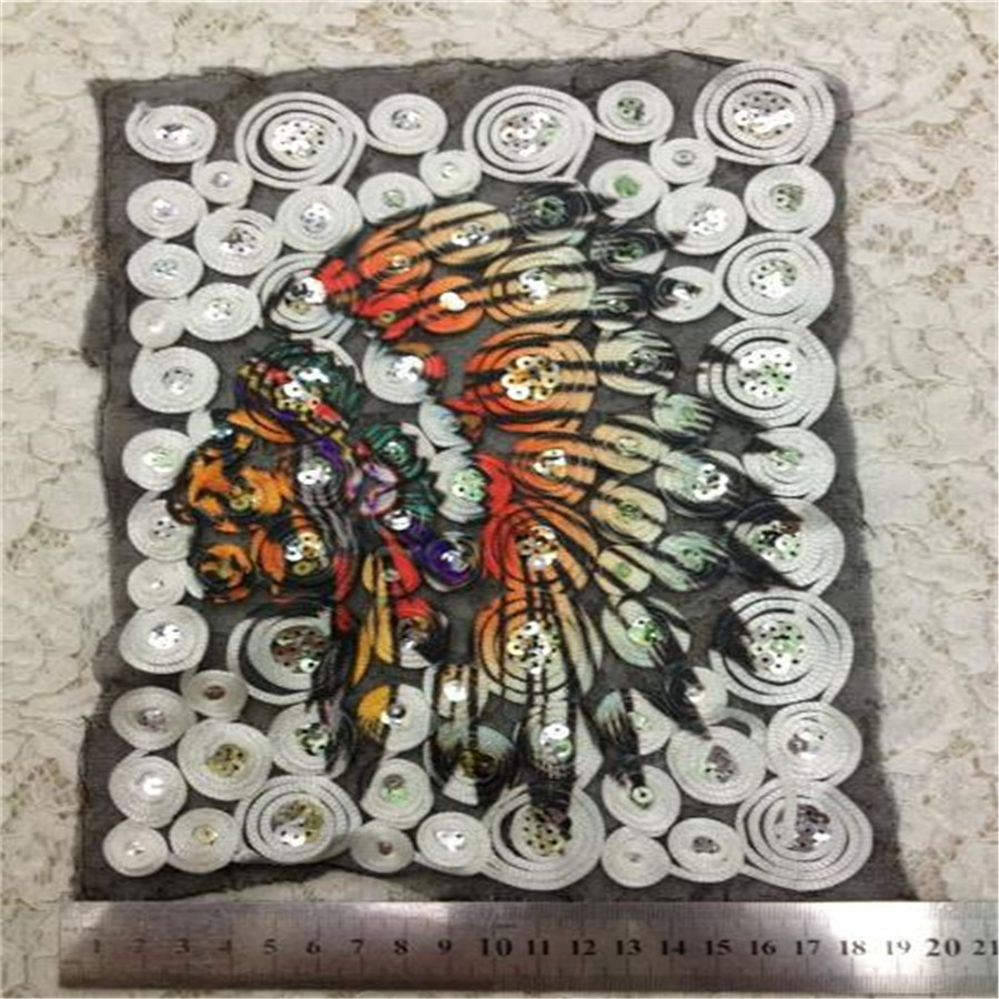 Clothes Accessories Sequins Embroidered Patches For Clothing T-shirt Sewing & Fabric Biker Patches Indian Logo Free Shipping(China (Mainland))