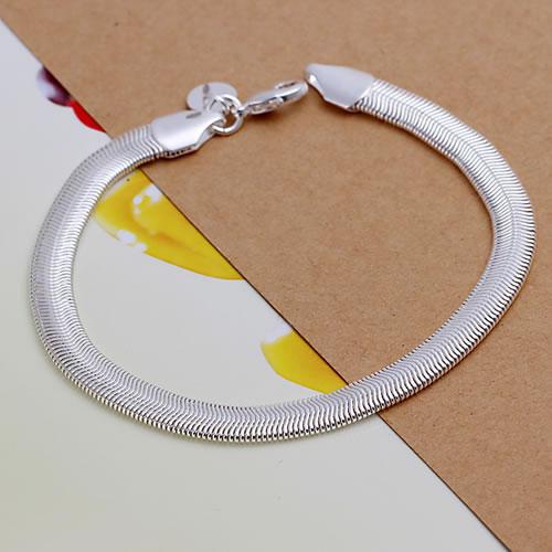 H164 Wholesale! Free Shipping Wholesale 925 silver bracelet,hot 925 solid silver fashion jewelry Flat Snake Bone Bracelet&Bangle(China (Mainland))